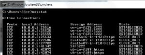 זהו פלט לדוגמא כאשר מקישים את פקודה ה- netstat לבדיקת הפורטים הפתוחים ובשימוש במחשב