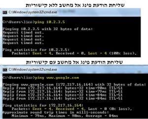 פלט של פקודת פינג - פינג מחשב עם קישוריות וללא קישוריות